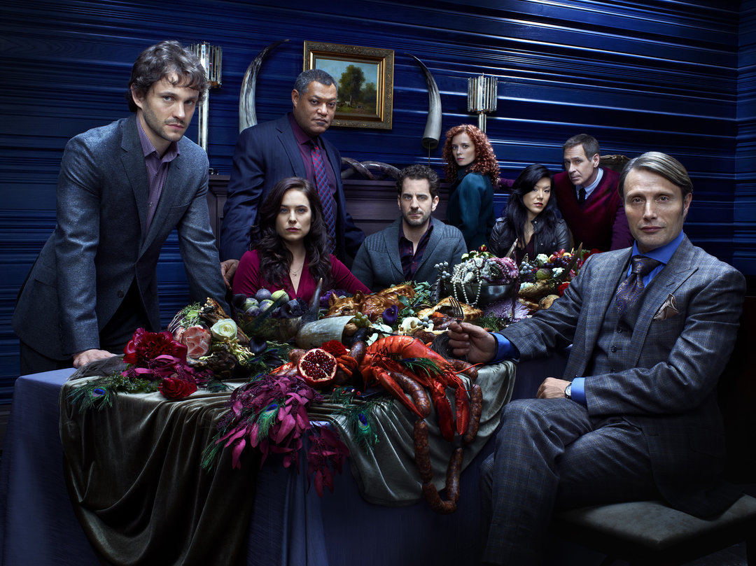 HANNIBAL -- Season: 1 -- Pictured: (l-r) Hugh Dancy as Special Agent Will Graham, Caroline Dhavernas as Dr. Alana Bloom, Laurence Fishburne as Agent Jack Crawford, Aaron Abrams as Brian Zeller, Lara Jean Chorostecki as Freddie Lounds, Hettienne Park as Beverly Katz, Scott Thompson as Jimmy Price, Mads Mikkelsen as Dr. Hannibal Lecter -- (Photo by: Robert Trachtenberg/NBC)